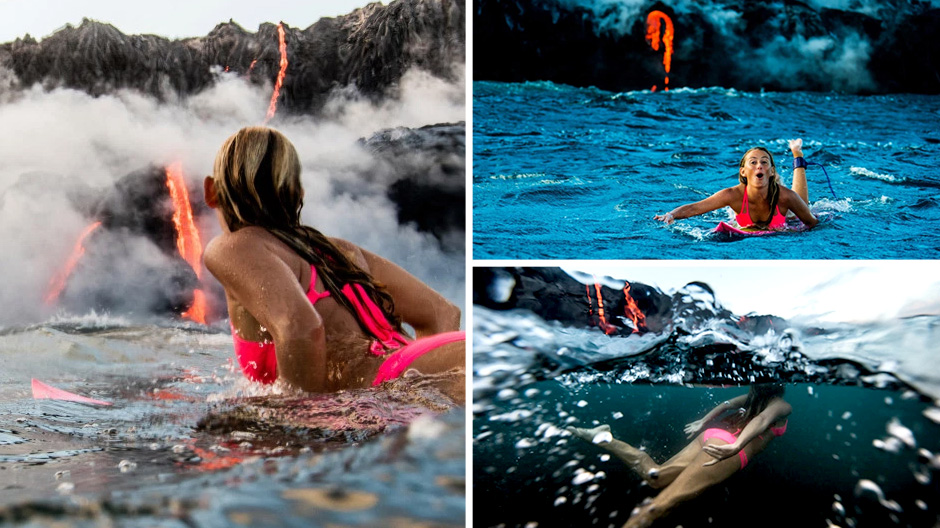 Sexy surfer Alison Teal paddles up to an erupting volcano in Hawaii