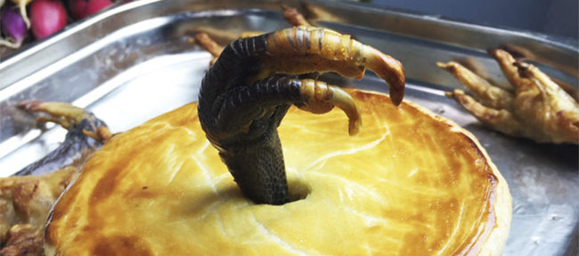 Slowly braised turkey and pheasant pie garnished with the claws of a thousand fowl.