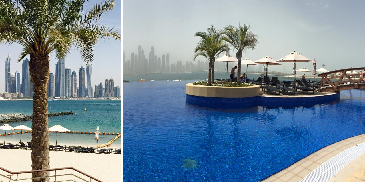 Dubai beach club skyline infinite pool bar