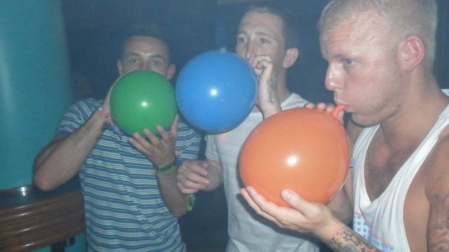 Lads Holiday laughing gas balloons nitrous oxide