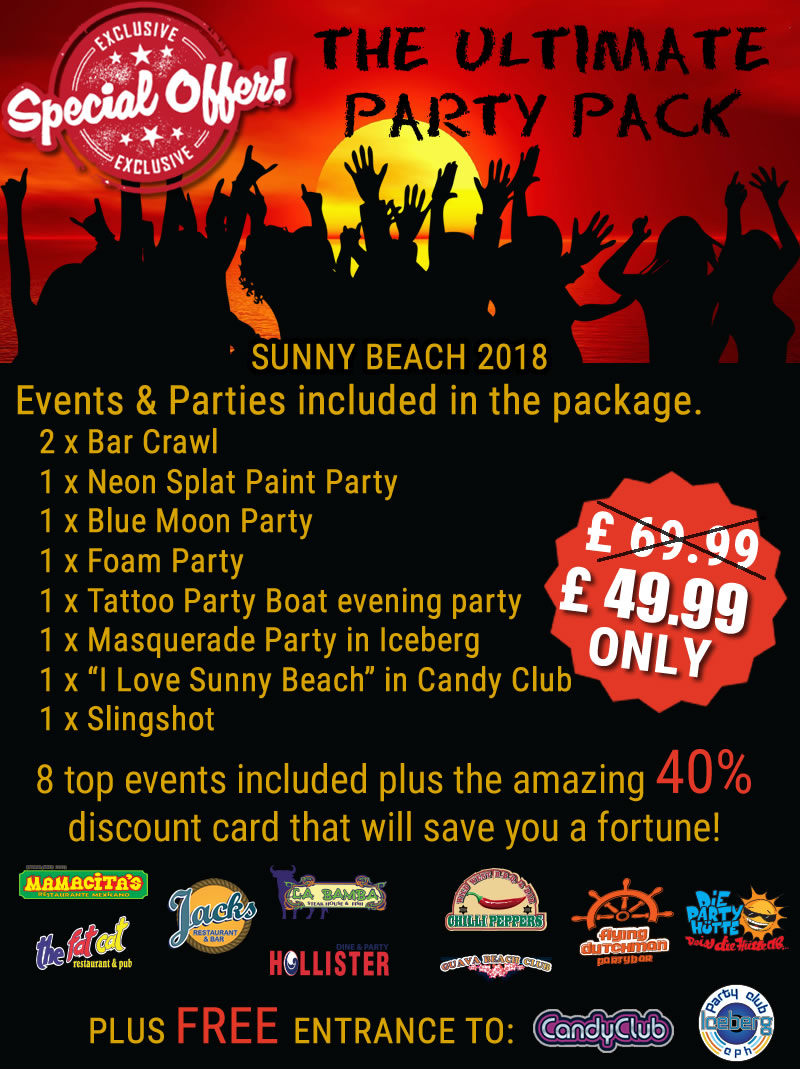 Sunny Beach party crew discount party pack