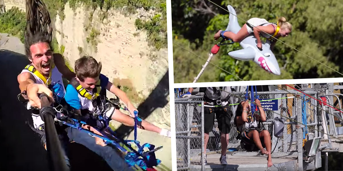 Devin Graham visits the world's fastest zip-line and tests out Gravity Canyon's bungee toys