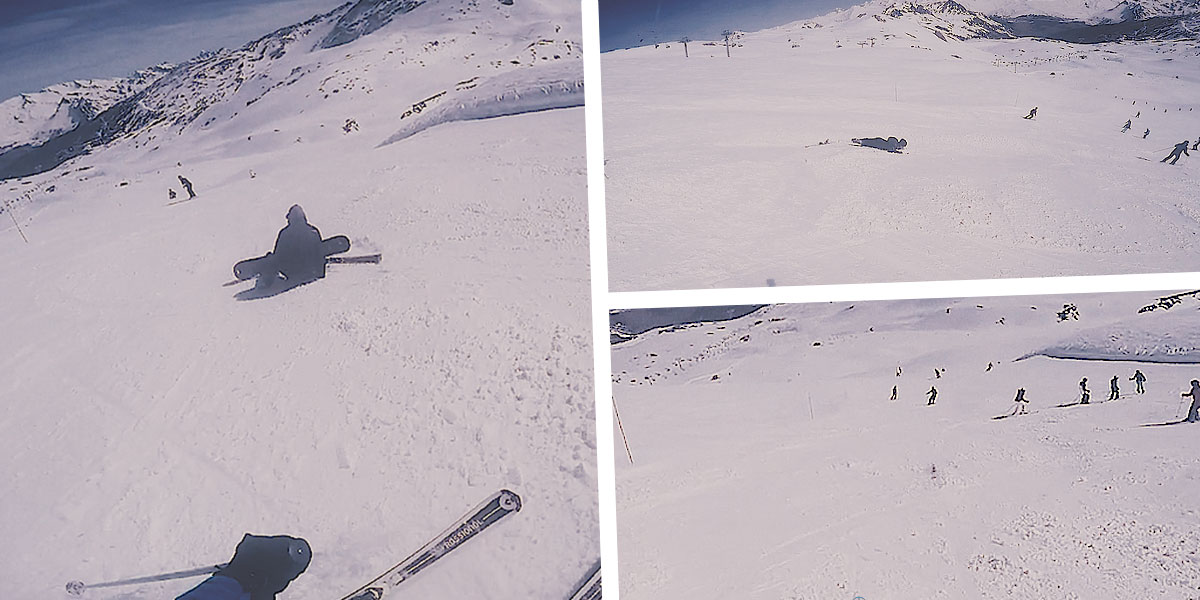 Rogue ski wipes out snowboarder