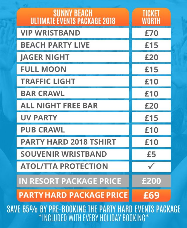 SUNNY BEACH 2018 EVENTS PACKAGE